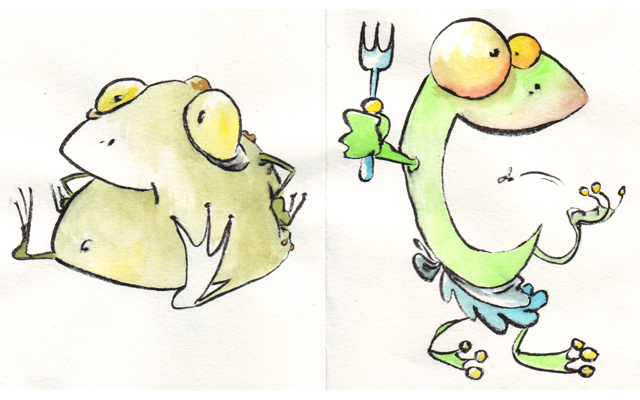 pen and watercolours on paper, frogs, 2010
