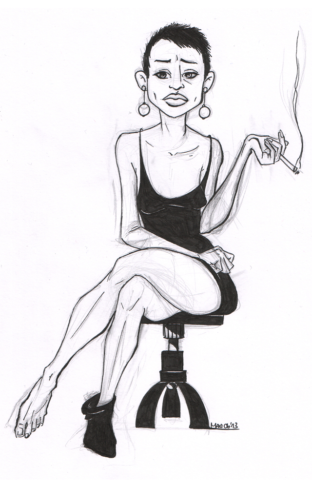 pencil and pen on paper, smoking woman, 2013